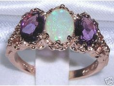 English 9K 9ct Rose Gold Genuine Natural Opal & Amethyst Ring - Made in England. $338.00, via Etsy.