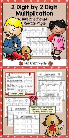 FREEBIE: 2 digit by 2 digit multiplication pages in a valentine theme! Each page comes in two formats.  Students can solve using the partial products strategy or the traditional algorithm.  Includes anchor chart and answer keys!