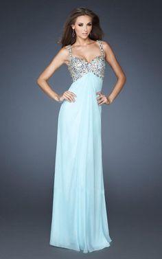 Ice Blue La Femme 18841 Sequin V-neck Prom Dresses with Straps