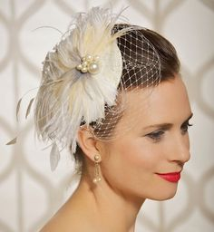 Bridal Hair accessory Feathers Fascinator by GildedShadows on Etsy, $89.00
