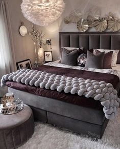 Glam bedroom decor with grey velvet channel tufted headboard bed#bedroom #bedroomdecor #bedroomdesign #luxurybedroom #bed #interiordesign #design #interior #homedecor #architecture #home #decor #interiors #homedesign #bedding #nightstand #glambedroom #modernbedroom #custombed #luxuryrybed #decorating #remodel #bedroomremodel #customhome #newhouse Modern Luxury Bedroom, Luxury Bedroom Design, Glam Bedroom, Bedroom Bed Design, Room Ideas Bedroom, Home Room Design, Luxurious Bedrooms, Bedroom Decor, Trendy Bedroom