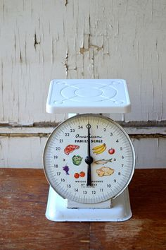 White Vintage Kitchen Scale | Farmhouse Flair from VintageFarmhouseFinds.com