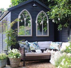 Modern Garden Design, Garden Room, Garden Furniture, Garden Seating Area, Garden Mirrors, Front Garden, Black Shed, Modern Garden, Garden Spaces