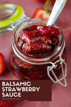This easy, 3-ingredient recipe for Balsamic Strawberry Sauce combines the best of summer's fragrant strawberries with zesty balsamic vinegar for a sweet and tangy sauce that is super versatile & works as a topping for everything from breakfasts to snacks to desserts. Hot Appetizers, Quick And Easy Appetizers, Easy Appetizer Recipes, Snack Recipes, Dessert Recipes, Lemon Recipes, Side Recipes, Easy Recipes, Strawberry Sauce