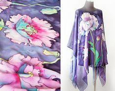 Hand Painted Silk Tunic Floral Caftan Custom Made