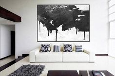 Huge Large Canvas prints add a unique touch to your home. Modern, stylish and unique design will be the most special piece of your decor. Especially for those who like abstract works, black and white acrylic painting can be prepared in desired sizes  large original painting mid century modern wall art black and white, large abstract painting, extra large wall art, Contemporary Painting  16x24 (40x60cm) $75 20x30 (50x76cm) $110 30x40 (76x102cm) $180 36x48(92x122cm) $240 40x53.5(102x136cm)…