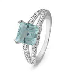 10KT White Gold Princess Aquamarine and Round Diamond Engagement Ring D-GOLD. $349.00