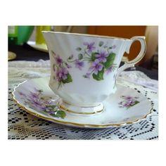 Tea Time - Vintage Violets Tea Cup #invitations Postcard #teatime #teaparty
