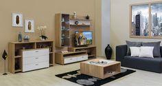 Bling - modern nappali világos sonoma tölgy - fényes fehér színben. Entryway, Bling, Living Room, Wall, Furniture, Tv, Home Decor, Entrance, Jewel