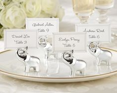 """100 """"lucky In Love"""" Silver-finish Lucky Elephant Place Card/photo Holder $141"""