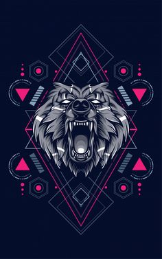 Discover thousands of Premium vectors available in AI and EPS formats Graphic Wallpaper, Dark Wallpaper, Team Logo Design, Wolf Artwork, New Retro Wave, Fu Dog, Lion Art, Gaming Wallpapers, Bear Art