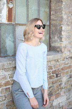 tifmys – Céline Mini Audrey sunnies, Zara striped shirt & Massimo Dutti pants. Photo by team Constantly_k