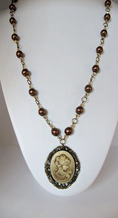 Victorian style cameo necklace brown pearls long by romanticcrafts, $22.00