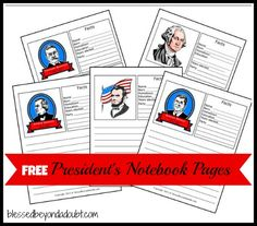 FREE Presidents Notebook Pages