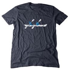 Men's Kayak T-Shirt featuring the Upper and Lower Peninsulas of Michigan