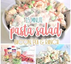 Easy Creamy Bacon Pea and Ranch Pasta Salad Side Dish Recipe - No chopping or dicing required and perfect for 4th of July and Memorial Day picnics, potlucks, block parties and barbecues. NO waiting! Ready to eat in 15 minutes and SO YUMMY! - Dreaming in DIY