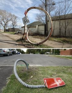 Segmented Street Sign Sculptures by Robbie Rowlands / See What? 14 Amazing & Unexpected Urban Art Installations