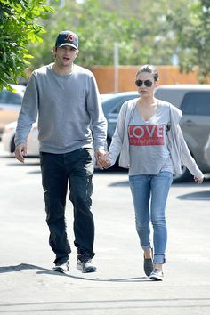 Ashton Kutcher and Mila Kunis hold hands as they head into Home Depot in Los Angeles on April 12, 2015.   - Cosmopolitan.com