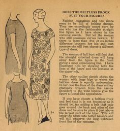 The Midvale Cottage Post: Home Sewing Tips from the 1920s - When Your Figure Is Not Ideal For Beltless Frocks