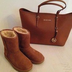 see more Adorable Leather Michael Kors Handbag and Long Warm Shoes