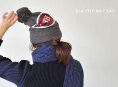 【楽天市場】USA CITY KNIT CAP ユーエスエーシティニットキャップ シティロゴ ポンポンニットキャップ(全5色)(unisex)【2014秋冬】:Crouka(クローカ)