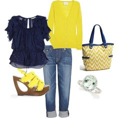 Yellow & Navy ♥, created by fleurdelove  Love the purse!