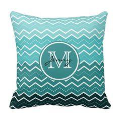 Teal Chevron Monogram Throw Pillows Teal Chevron, Chevron Monogram, Chevron Throw Pillows, Zig Zag Pattern, Modern Art, Bedroom Decor, Inspiration, Biblical Inspiration, Decorating Bedrooms