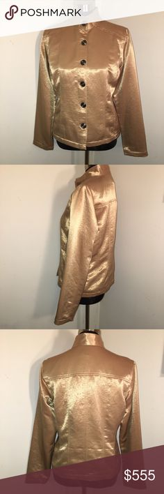 💟 HOST PICK 🎉🆕 Chico's Size1 Gold Satiny Jacket Beautiful gold satiny jacket by Chico's. Soft and luxurious washable polyester with nickel style buttons. Chico's size 1 = M (8-10) 💟 Happy Poshing!! 💝😊🛍 Best in Outerwear Host Pick by @everlywillow. Thanks Jordan 💝 Chico's Jackets & Coats