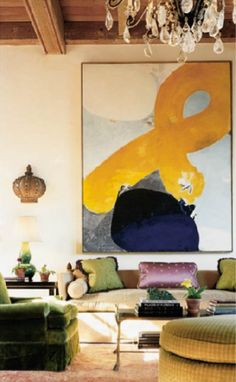 Katie Ridder - San Francisco I like the large abstract painting and the traditional furniture. Doesn't always work. You need a really good eye to pull this off!