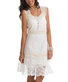 Take a look at this Vanilla Christy Lace-Accent Sleeveless Dress - Women & Plus by RU Cowgirl on #zulily today! $35 !!