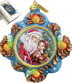 Features:  -Comes in a beautiful decorative gift box.  -Made in the USA.  Product Type: -Shaped ornament.  Theme: -Santa/Child.  Color: -Multi-color.  Country of Manufacture: -United States.  Primary
