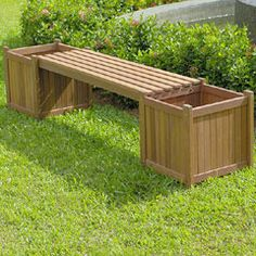 Wooden garden bench with square planters at each end Planter Bench, Garden Planter Boxes, Wooden Garden Planters, Modern Planters, Diy Planters, Box Garden, Brick Garden, Outdoor Planters, Easy Garden