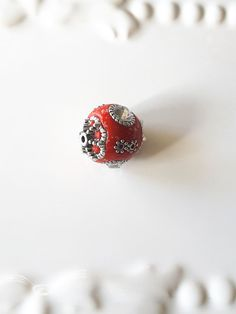Beads- Indonesian Beads- Fancy Beads-Silver and Red Beads-Unique Beads-Silver Beads-Jewelry Supplies-Beading Supplies-Celestial Luxuries