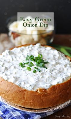Easy Green Onion Dip - forget about spinach dip and make this yummy recipe instead! It's the party appetizer - serve it with bread or crackers! | www.honeyandbirch.com #dip