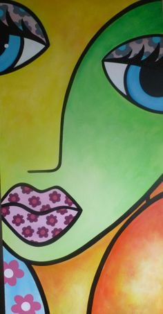 Flower Girl, acrylic on canvas, by Louise MacIntosh-Watson 50x100cm