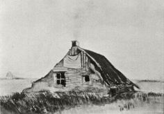 Vincent van Gogh: The Watercolours - Farmhouse  Drente: October, 1883 (Private collection) F 1102, JH 402