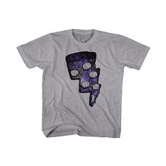 American Classics Heather Gray & Purple Pizza Galaxy Tee (39 RON) ❤ liked on Polyvore featuring tops, t-shirts, heather grey tee, galaxy tee, purple top, purple graphic tees and graphic design tees