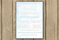 bridal shower invite, winter wedding, typography invite, snowflakes, wonderland, printable invite, PROOF in under 48hrs on Etsy, $14.00