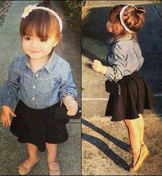 cute idea for daughter's outfit...black pleated skirt, flats, denim button up shirt, simple headband, bun