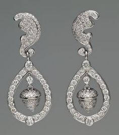 The acorn and oak-leaf earrings worn by the Duchess of Cambridge on her wedding day in 2011. (Royal Collection)