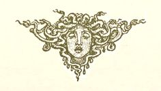 """Page 38. Tailpiece — """"THE GORGON'S HEAD.""""    —    Walter Crane Illustrations: Wonder Book for Girls and Boys."""