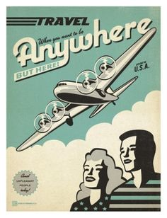 Travel Plane Vintage Advertisement East Urban Home Size: 25 cm H x 20 cm W Vintage Travel Posters, Vintage Ads, Funny Vintage, Vintage Prints, Vintage Style, Groups Poster, Affordable Modern Furniture, Museum, Cool Posters