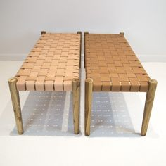Raw Leather Weave Bench (M)