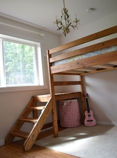 Great plans for building a loft bed with stairs! Camp Loft Bed with Stairs, Junior Height, from Ana White.