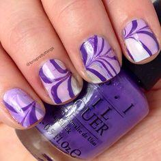 Purple watermarble nails