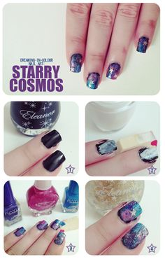 Nude glitter glam nails with black french tips personal diy galaxy nails tutorial prinsesfo Gallery