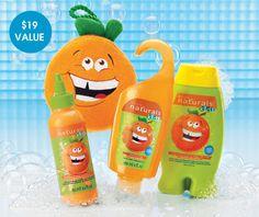 AVON - children. Fresh squeezed fun. Naturals Kids. Outgoing Orange 4 piece fun collection. $8.99. youravon.com/taylorenterprises