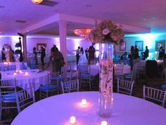 Up lighting with one accent light behind sweethart table.#Diamontebanquethall