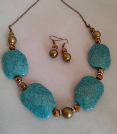 Bronze and Turquoise Bib Necklace and Earrings Set ~ Turquoise and Rhinestone Large Bead Necklace ~ Turquoise Necklaces ~