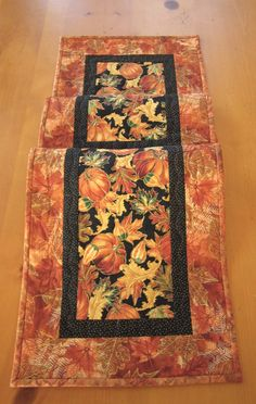 Quilted Table Runner Pumpkin and Leaves Fall Decor